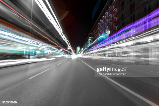 driving fast in berlin - looking backwards - long exposure - drinking and driving stock photos and pictures