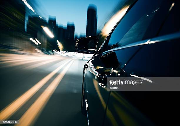Driving fast in the city at night