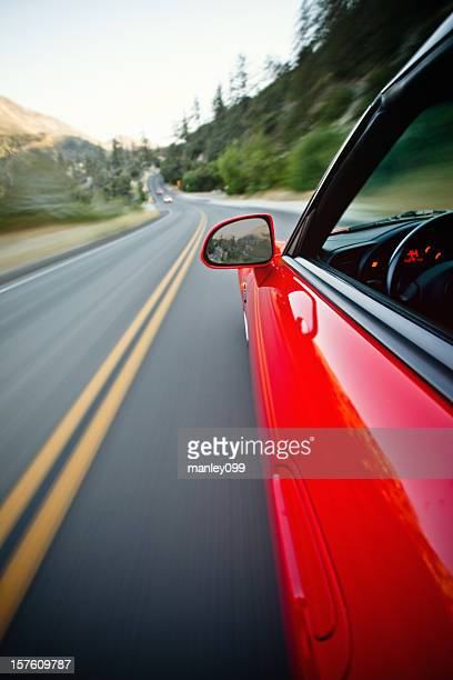 driving fast on the mountain road