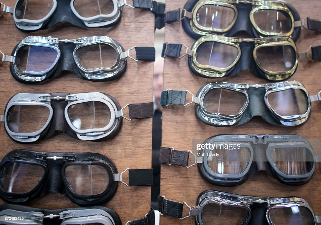 Driving goggles for sale are pictured on the first day of the Lancaster Classic Motor Show at the NEC Birmingham on November 10, 2017 in Birmingham, England. According to a recent survey by the Federation of British Historic Vehicles Clubs, the historic vehicle industry currently generates revenues in excess of £5.5 billion per year for the UK economy, and while current government policy is to promote self-driving and low carbon cars, according to Transport Minister Chris Grayling his party is also committed to supporting owners of classic cars, and those that want to continue to use them on the road in the future.