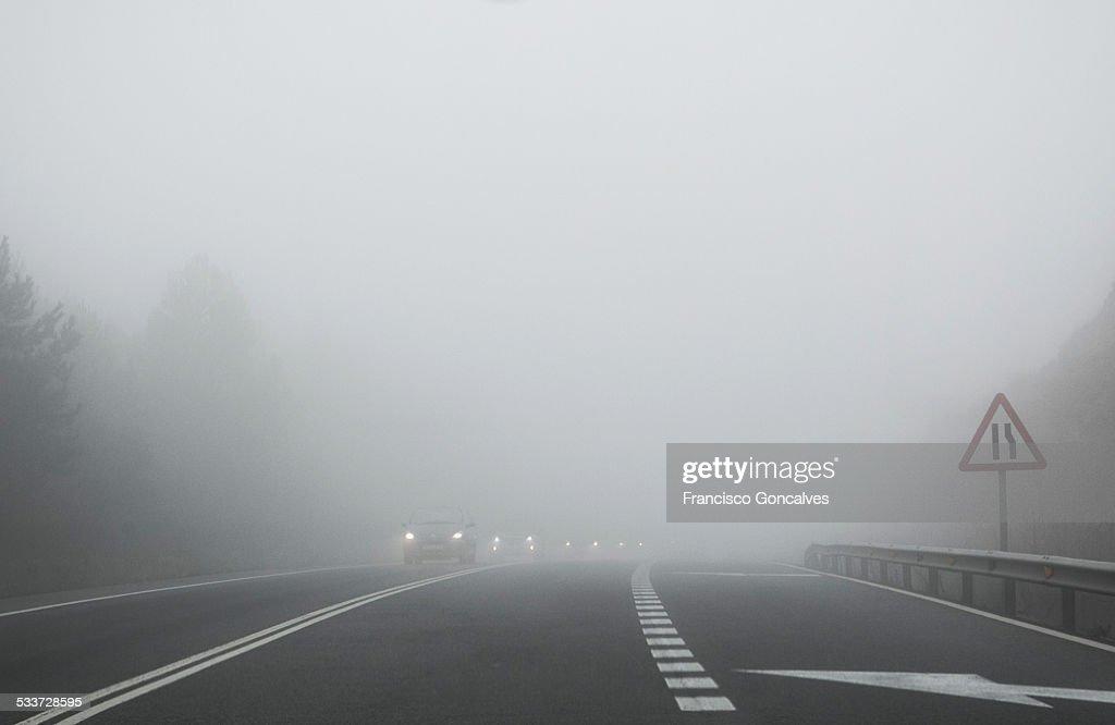 Driving in fog : Foto stock