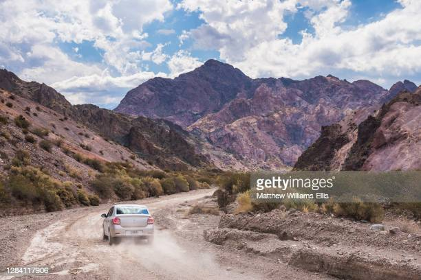 Driving in the Andes Mountains surrounding Uspallata, Mendoza Province, Argentina, South America.