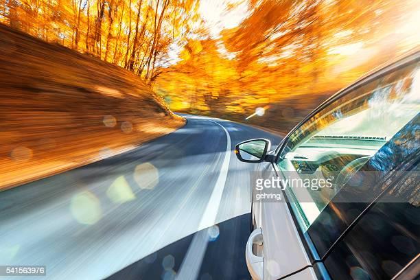 fahren in den herbst - vehicle mirror stock-fotos und bilder