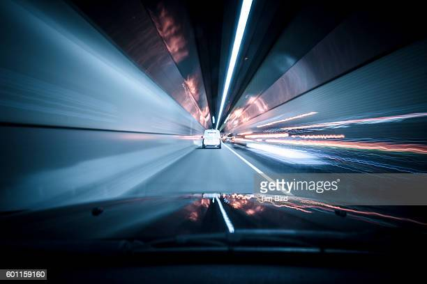 Driving in tunnel with light trails