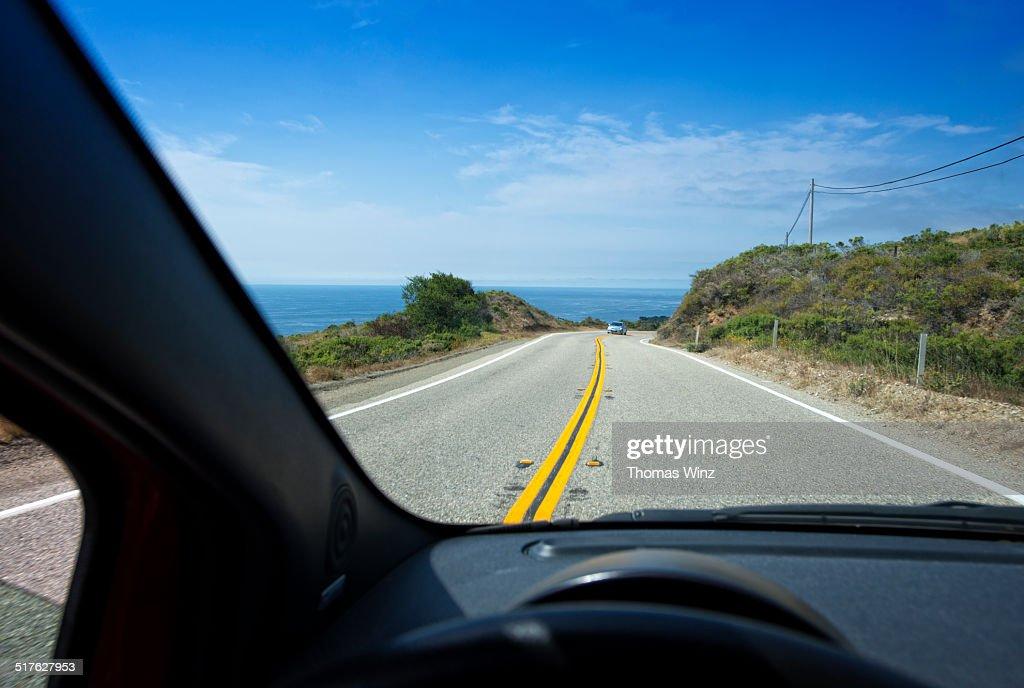 Driving near Big Sur Coastline : Stock Photo