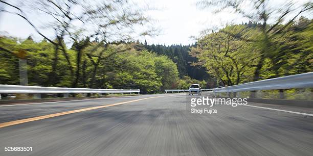 Driving on mountain road