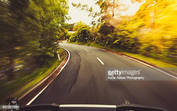 Driving on open road in Auckland, New Zealand.