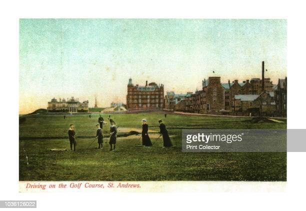 Driving on the Golf Course, St. Andrews'. Late 19th-early 20th century scene of boys and women playing golf at the historic course at St Andrews in...