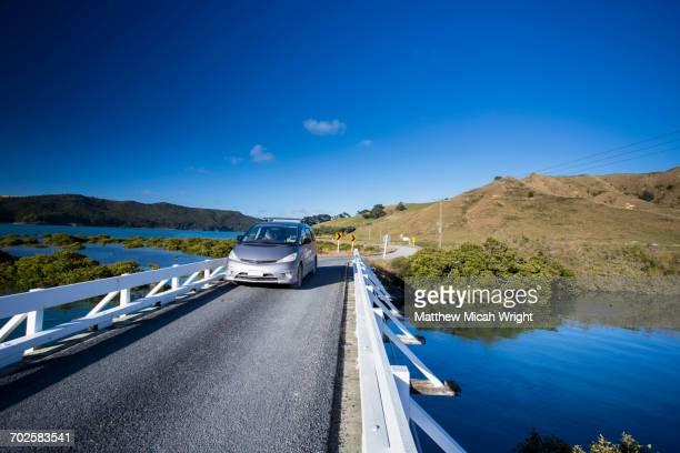 Driving over a Waikato bridge.