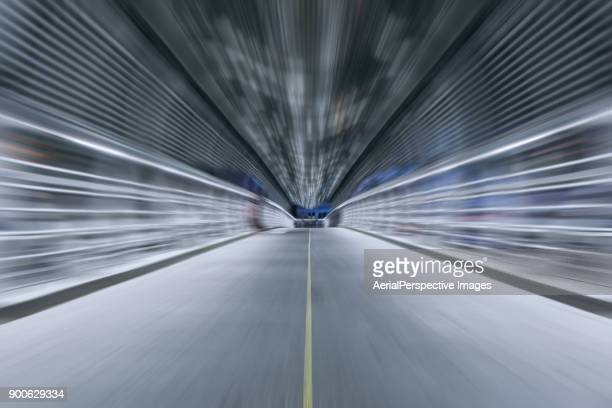 pov of driving over illuminated bridge - line stock pictures, royalty-free photos & images