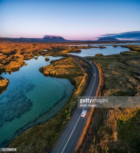 Driving past lava and Moss formations, Lake Myvatn, Iceland