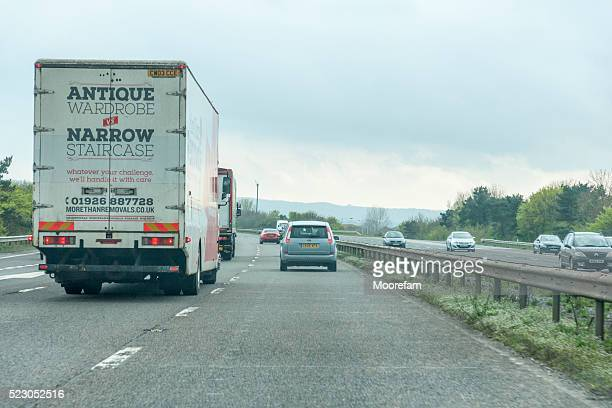 Driving south on the M6 motorway overtaking a lorry