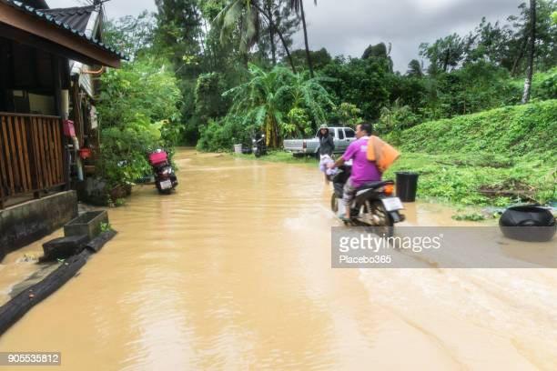 driving through flooded street during extreme weather tropical storm - monsoon stock pictures, royalty-free photos & images
