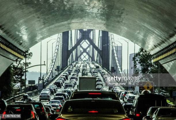 driving through the bay bridge tunnel - traffico foto e immagini stock