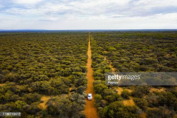 driving through the bush land - austrália ocidental - fotografias e filmes do acervo