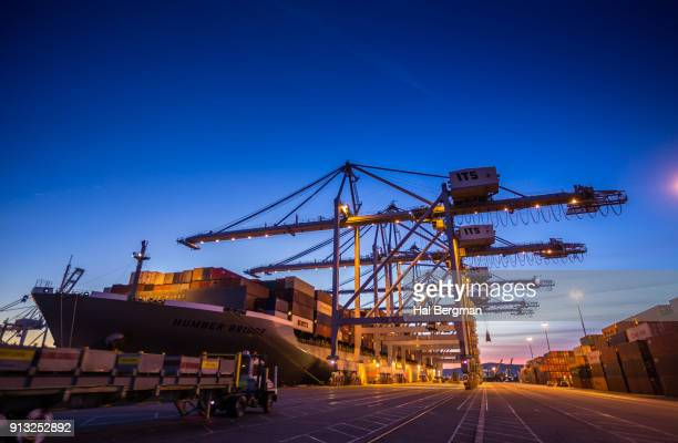 UTR Driving Towards Container Ship and Gantry Cranes on Dock