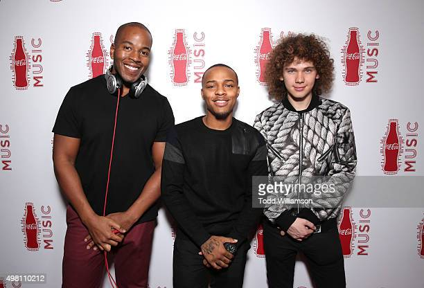 DJ Drizzy Dre rapper Bow Wow and singer Francesco Yates attend the 2015 American Music Awards Pre Party with CocaCola at the Conga Room on November...