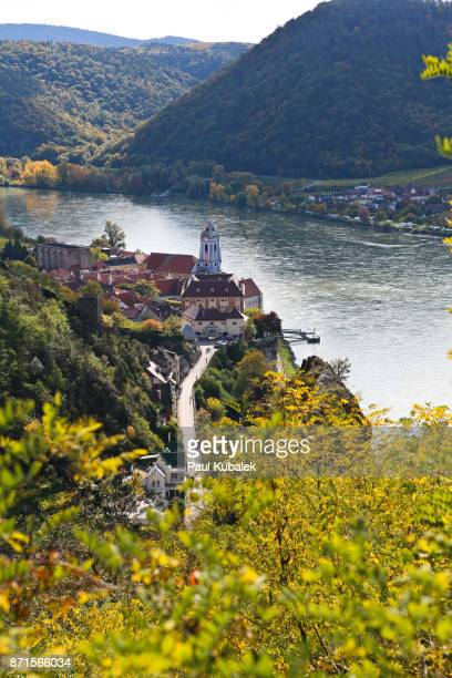 dürnstein in the wachau valley along the danube - danube river stock pictures, royalty-free photos & images