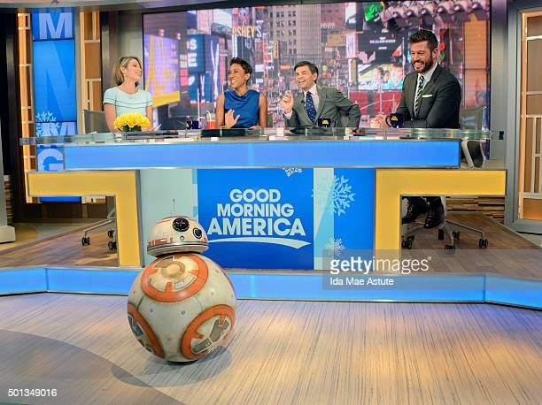 """Droid from the new """"Star Wars"""" movie scoots around GOOD MORNING AMERICA, 12/14/15, airing on the Walt Disney Television via Getty Images Television..."""