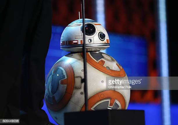 BB8 droid speaks onstage during the 21st Annual Critics' Choice Awards at Barker Hangar on January 17 2016 in Santa Monica California