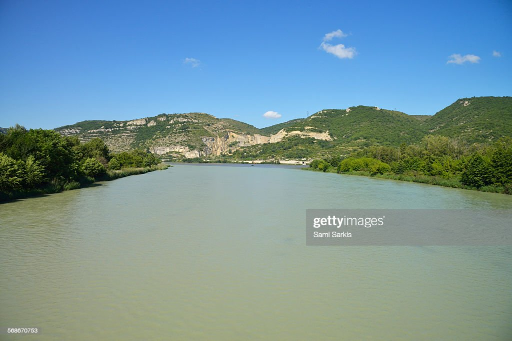 Drome river confluence with Rhone river : Stock Photo