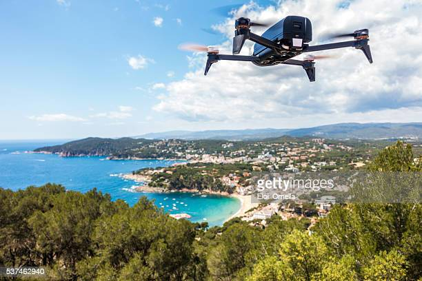 dron drone coast beach summer clouds sun horizontal bebop parrot