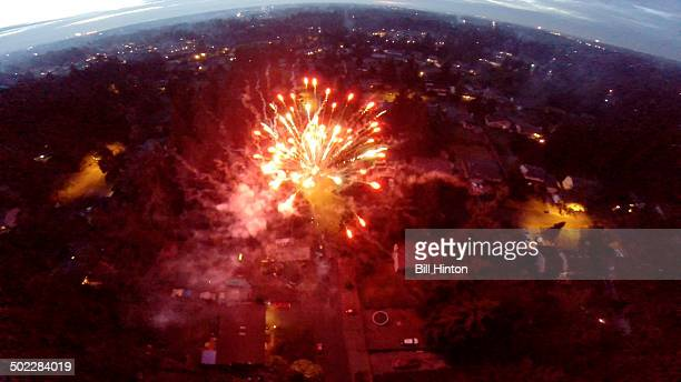Drone aerial July 4th 2014 fireworks