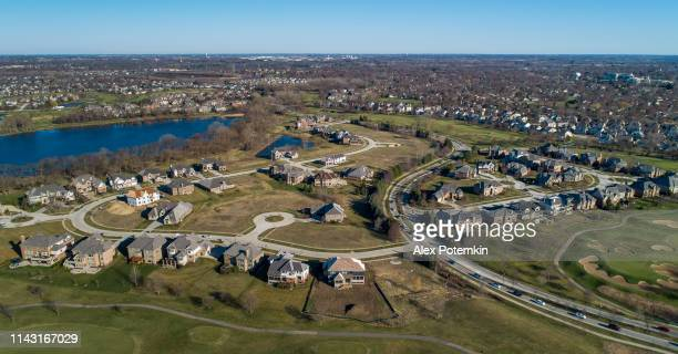 drone aerial panoramic  view of the residential neighborhood libertyville, vernon hills, chicago, illinois. - chicago illinois stock pictures, royalty-free photos & images