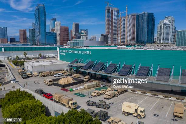 Drone aerial view shows California National Guard troops gathered at the Los Angeles Convention Center after being activated by California Governor...