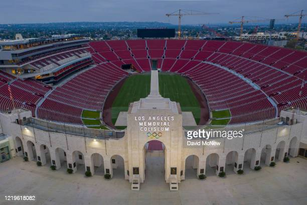 Drone aerial view shows the Los Angeles Memorial Coliseum at Exposition Park as Los Angeles County allows more businesses and facilities to reopen...