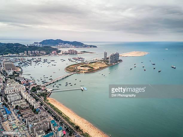 Drone angle view of Sanya beach, China