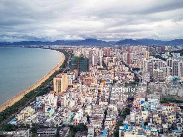 drone angle view of sanya beach, china - sanya stock pictures, royalty-free photos & images