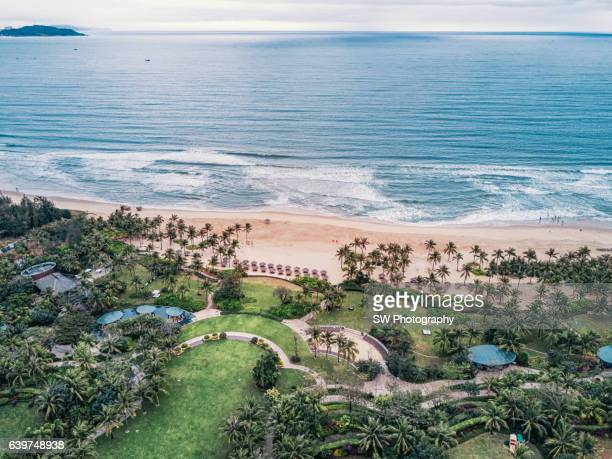 drone angle view of the haitang bay located in sanya, china - hainan island stock pictures, royalty-free photos & images