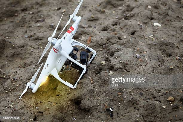 drone crashed - crash stock photos and pictures