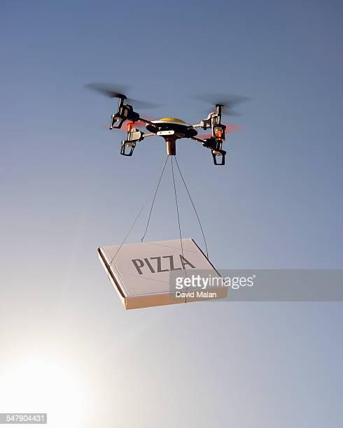 Drone delivering a pizza