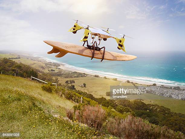 Drone delivering a wrapped surfboard