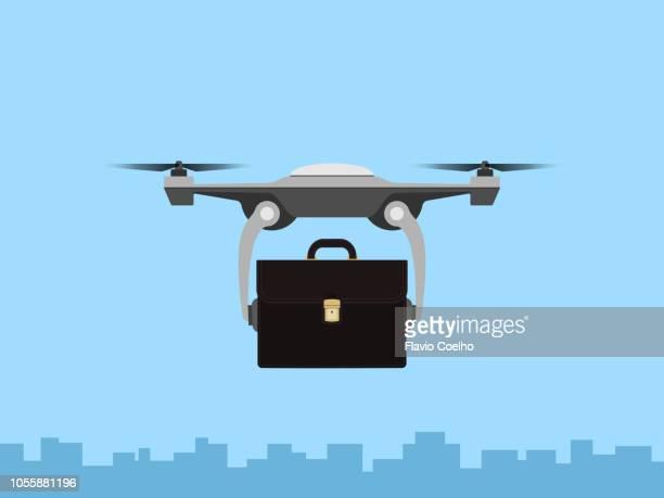 drone delivering business briefcase - オクトコプター ストックフォトと画像