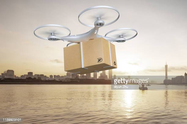 drone delivering package over cityscape,3d render - driverless transport stock pictures, royalty-free photos & images