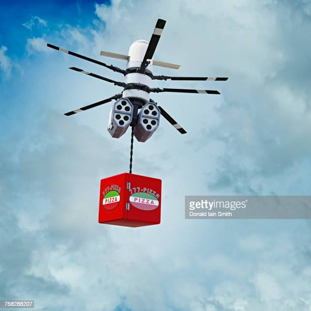 Drone delivering pizza in sky