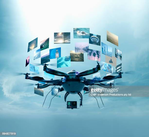 Drone displaying images in sky