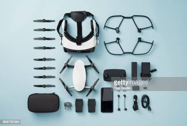 drone equipment knolling style on blue background. - gruppo di oggetti foto e immagini stock