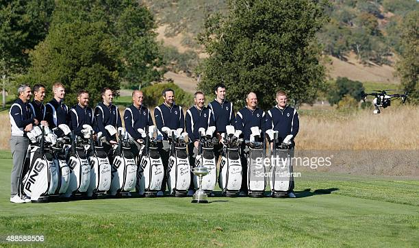 A drone films Captain Jon Bevan and his Great Britain Ireland team prior to the start of the 27th PGA Cup at CordeValle on September 16 2015 in San...