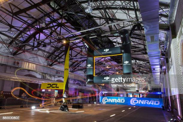 A drone flies around the track at Station Berlin during the DCL Drone Champions League Championship Finals in Berlin on December 02 2017 in Berlin...