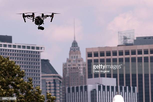 A drone flies during practice day at the National Drone Racing Championships on Governors Island August 5 2016 in New York City More than 100 pilots...