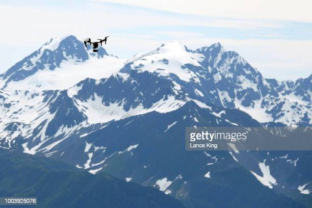 A drone flies during the Men's Division of the 91st Running of the Mount Marathon Race at Mount Marathon on July 4 2018 in Seward Alaska The Mount...