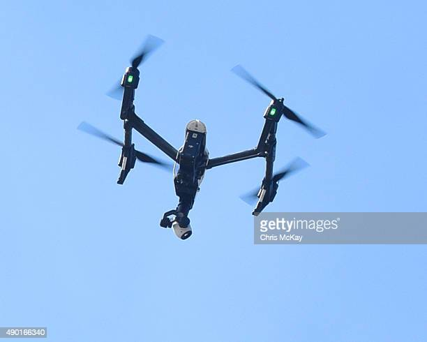 A drone flies over the audience at Music Midtown at Piedmont Park on September 19 2015 in Atlanta Georgia