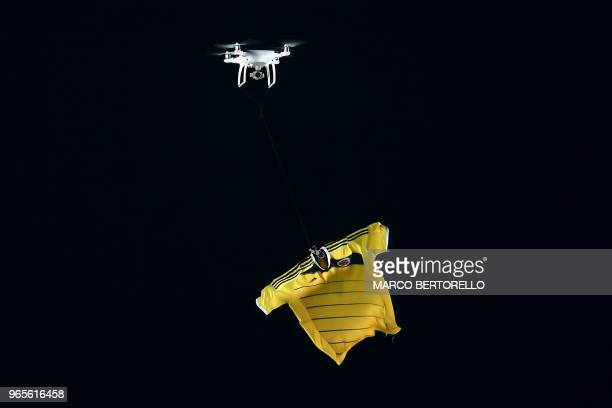 """Drone flies with the jersey of the Colombia National team during the international friendly football match between Egypt and Colombia at """"Atleti..."""