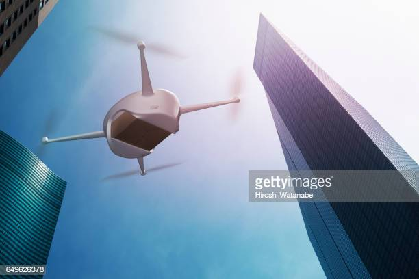 Drone flying above high rise office buildings