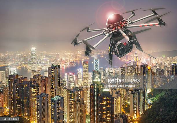 Drone flying and filming over Hong Kong