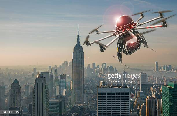 Drone flying and filming over Manhattan